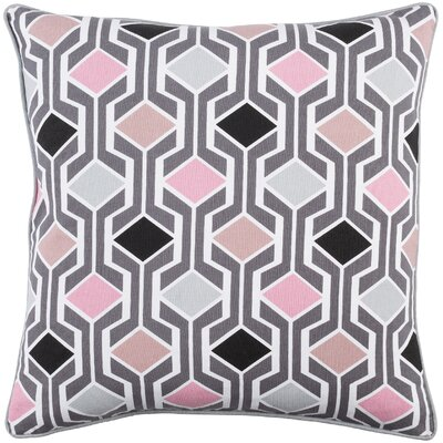 Antonia Geometric Square Woven Cotton Throw Pillow Color: Pink Multi