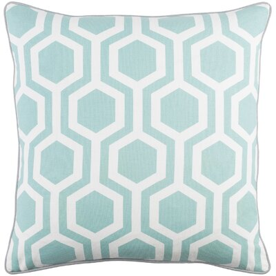 Antonia Geometric Square Woven Cotton Throw Pillow Cover Color: Mint/ White