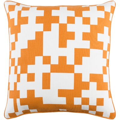 Antonia Puzzle Woven Cotton Throw Pillow Color: White/ Orange