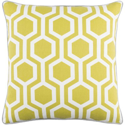 Antonia Square Woven Cotton Throw Pillow Color: Lime/ White