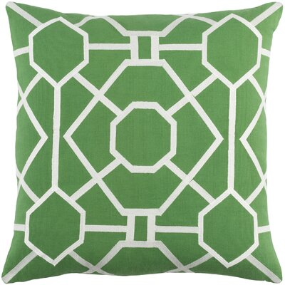 Kingdom Porcelain Cotton Throw Pillow Color: Green/ White