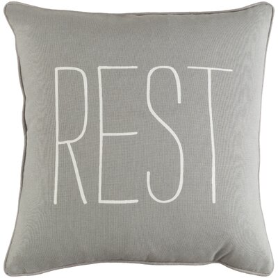 Carnell Text Cotton Throw Pillow Color: Gray/ White