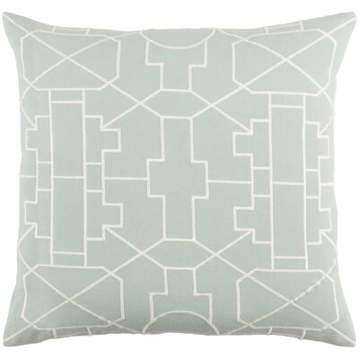 Kingdom Lei Cotton Throw Pillow Color: Dusty Aqua/ White