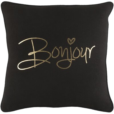 Carnell Bonjour Cotton Throw Pillow Color: Black/ Metallic Gold