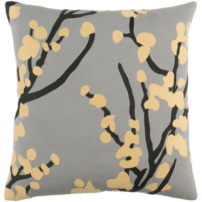 Kingdom Anna Cotton Throw Pillow Cover Color: Gray/ Yellow/ Black