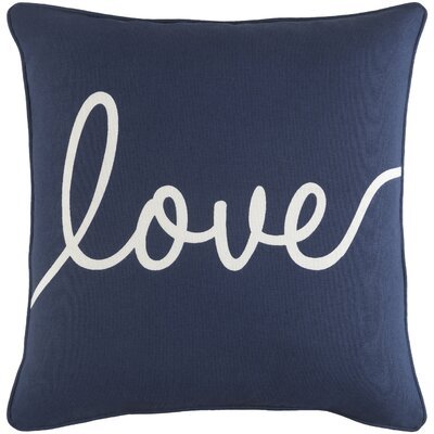 Carnell Romantic Love Cotton Throw Pillow Cover Color: Navy/ White