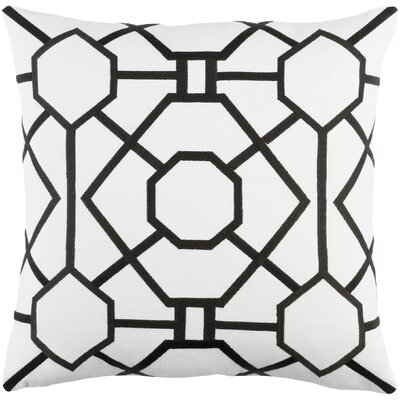 Kingdom Porcelain Cotton Throw Pillow Cover Color: White/ Black