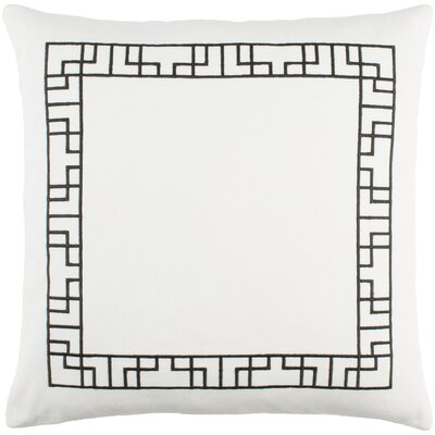 Kingdom Rachel Cotton Throw Pillow Cover Color: White/ Black