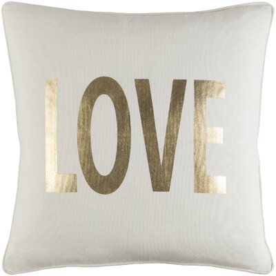 Carnell Love Metallic Gold Cotton Throw Pillow