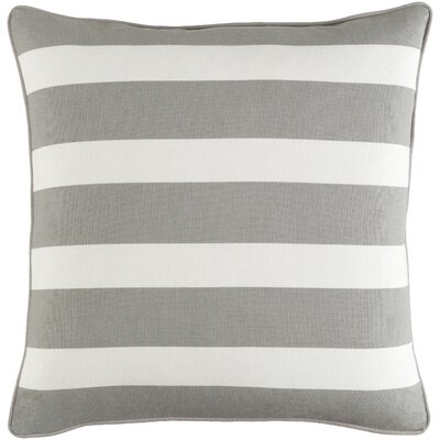 Carnell Striped Square Cotton Throw Pillow Color: Gray/White