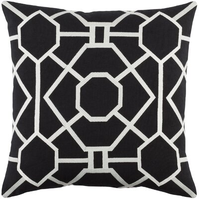 Kingdom Porcelain Cotton Throw Pillow Color: Black/ White