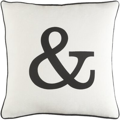 Carnell Ampersand Cotton Throw Pillow Cover Color: White/ Black