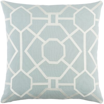 Kingdom Porcelain Cotton Throw Pillow Color: Dusty Aqua/ White