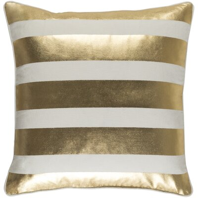 Carnell Stripe Cotton Throw Pillow Cover Color: Metallic Gold/ White