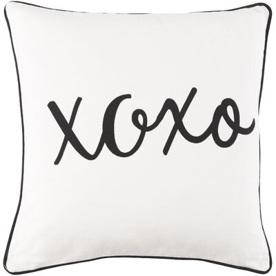 Glyph Hugs and Kisses Cotton Throw Pillow Cover Color: White/ Black