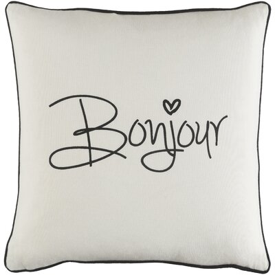 Carnell Bonjour Cotton Throw Pillow Color: White/ Black