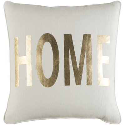 Glyph Cotton Throw Pillow Color: White/ Metallic Gold