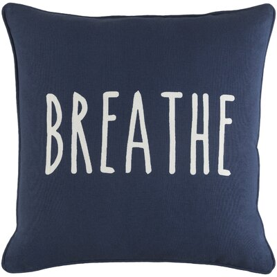 Carnell Breathe Cotton Throw Pillow Color: Navy/ White