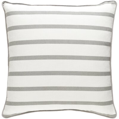 Glyph Mini Stripe Cotton Throw Pillow Cover Color: White/ Gray
