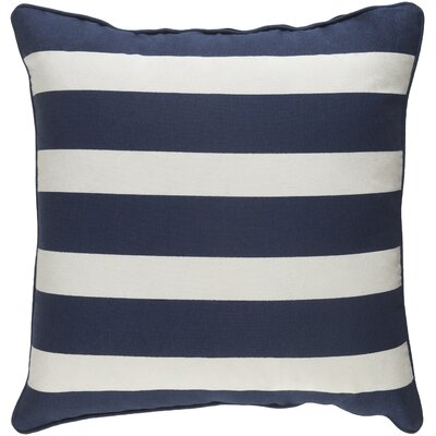 Carnell Stripe Cotton Throw Pillow Color: Navy/ White