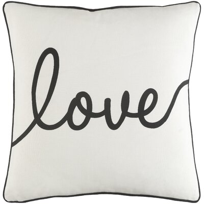 Carnell Romantic Love Cotton Throw Pillow Cover Color: White/ Black