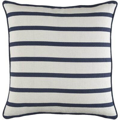 Glyph Mini Stripe Cotton Throw Pillow Cover Color: White/ Navy