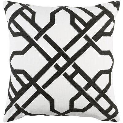 Kingdom Burke Cotton Throw Pillow Cover Color: White/ Black