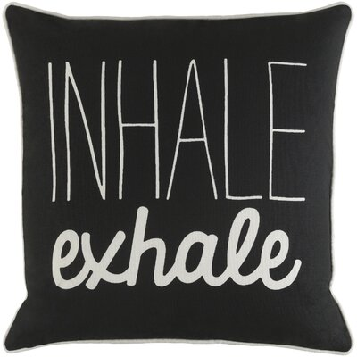 Carnell Inhale/ Exhale Cotton Throw Pillow Cover Color: Black/ White
