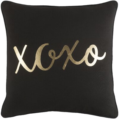Carnell XOXO Cotton Throw Pillow Color: Black/ Metallic Gold