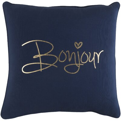 Carnell Bonjour Cotton Throw Pillow Color: Navy/ Metallic Gold