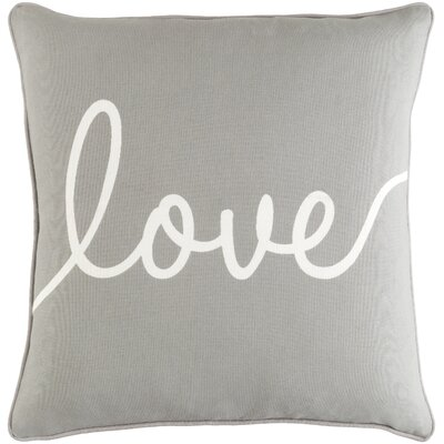 Carnell Romantic Love Cotton Throw Pillow Color: Gray/ White