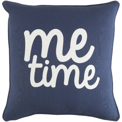 Glyph Me Time Cotton Throw Pillow Color: Navy/ White