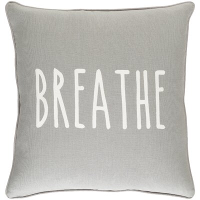 Glyph Breathe Cotton Throw Pillow Cover Color: Gray/ White