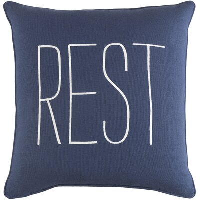 Carnell Rest Cotton Throw Pillow Color: Navy/ White