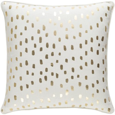 Carnell Dalmatian Dot Cotton Throw Pillow Cover Color: White/ Metallic Gold