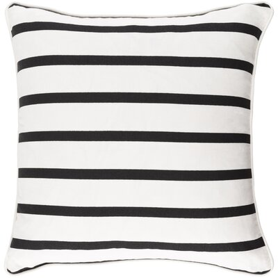 Carnell Mini Stripe Cotton Throw Pillow Cover Color: White/ Black
