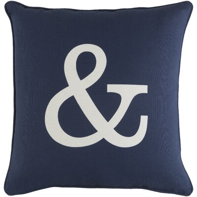Carnell Zipper Cotton Throw Pillow Color: Navy/ White