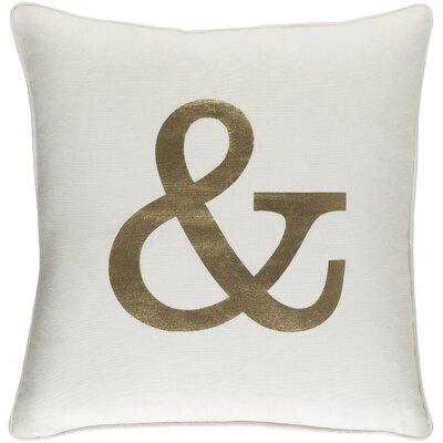 Carnell Ampersand Cotton Throw Pillow Cover Color: White/ Metallic Gold