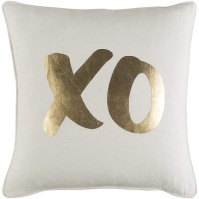 Carnell XO Cotton Throw Pillow Color: White/ Metallic Gold