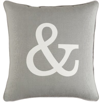 Carnell Zipper Cotton Throw Pillow Color: Gray/ White