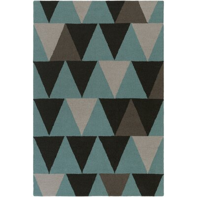 Hilda Rae Hand-Crafted Teal/Gray Area Rug Rug Size: 76 x 96