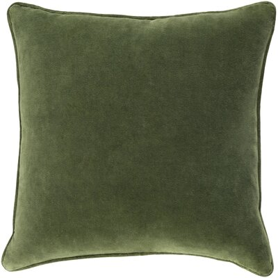 Baylie Solid Cotton Velvet Pillow Cover Color: Green