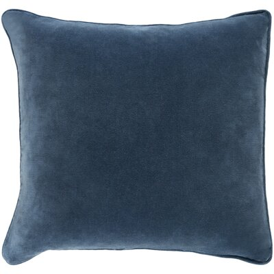 Baylie Square Cotton Velvet Pillow Cover Color: Slate