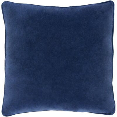 Baylie Cotton Velvet Throw Pillow Color: Navy, Fill Material: Down