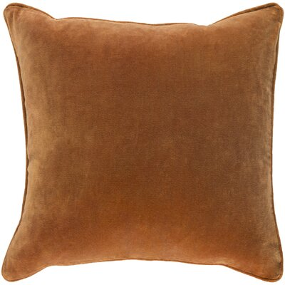 Baylie Cotton Velvet Throw Pillow Color: Dark Orange, Fill Material: Polyester