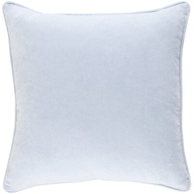 Baylie Cotton Velvet Throw Pillow Color: Light Blue, Fill Material: Down