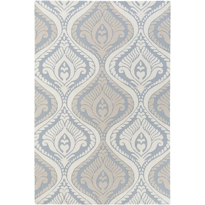 Annette Bridgette Light Blue/ Ivory Area Rug Rug Size: 5 x 76