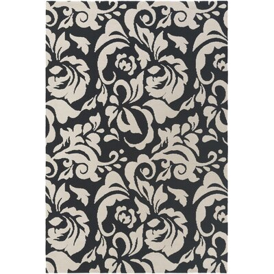 Ducote Black/Ivory Area Rug Rug Size: Rectangle 76 x 96