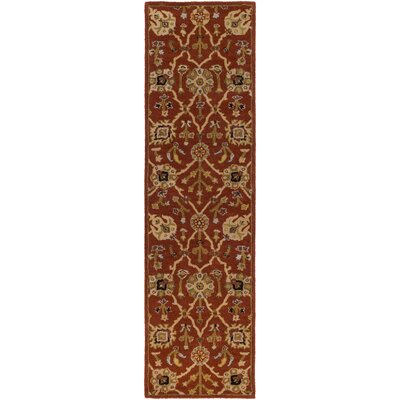 Dutil Hand-Tufted Crimson/Beige Area Rug Rug Size: Runner 23 x 8