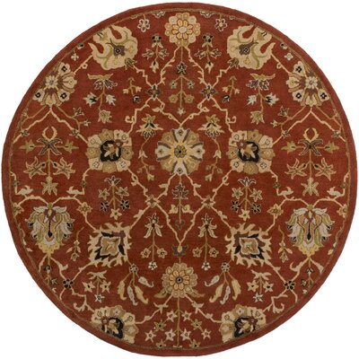 Dutil Hand-Tufted Crimson/Beige Area Rug Rug Size: Round 36
